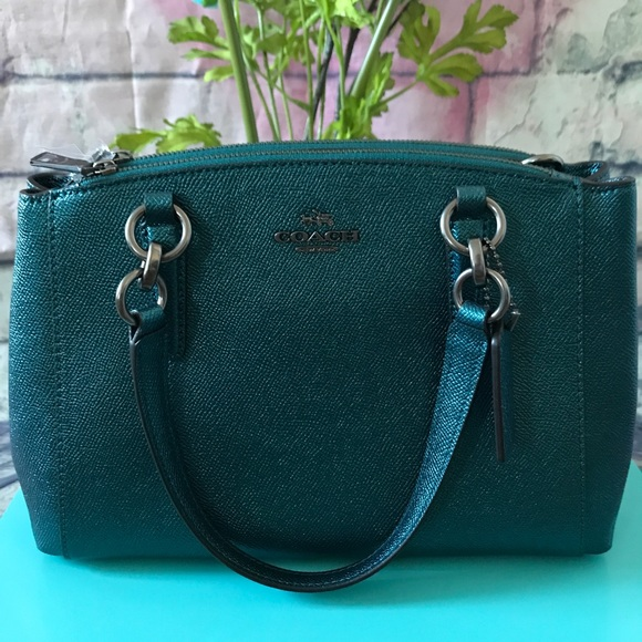 a937772ab Coach Bags | Mini Christie Metallic Dark Teal Leather Bag | Poshmark